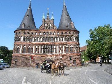 Haflinger besuchen Altstadt von Lübeck